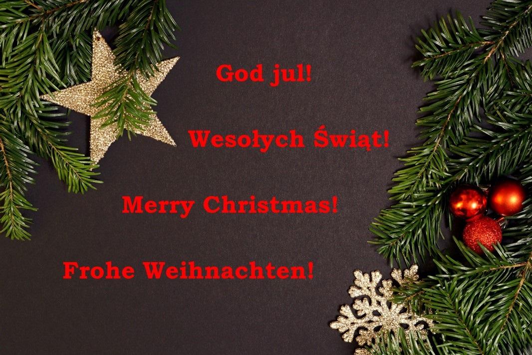 God jul! Wesołych Świąt! Merry Christmas! Frohe Weihnachten!
